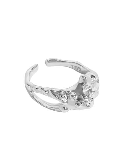 Platinum [14 adjustable] 925 Sterling Silver Irregular Vintage Band Ring